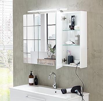 Schildmeyer 125353 Spiegelschrank 80 X 75 X 16 Cm Weiss Glanz