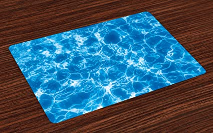 Amazon.com: Lunarable Aqua Place Mats Set of 4, Water Swimming Pool ...