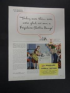 "Frigidaire Electric Range. print ad. 9 3/4"" x 12 1/2"" Full Page Color Illustration (mother,father,little girl.) Original Vintage 1944 Better Homes and Gardens Magazine Illustration, Art."