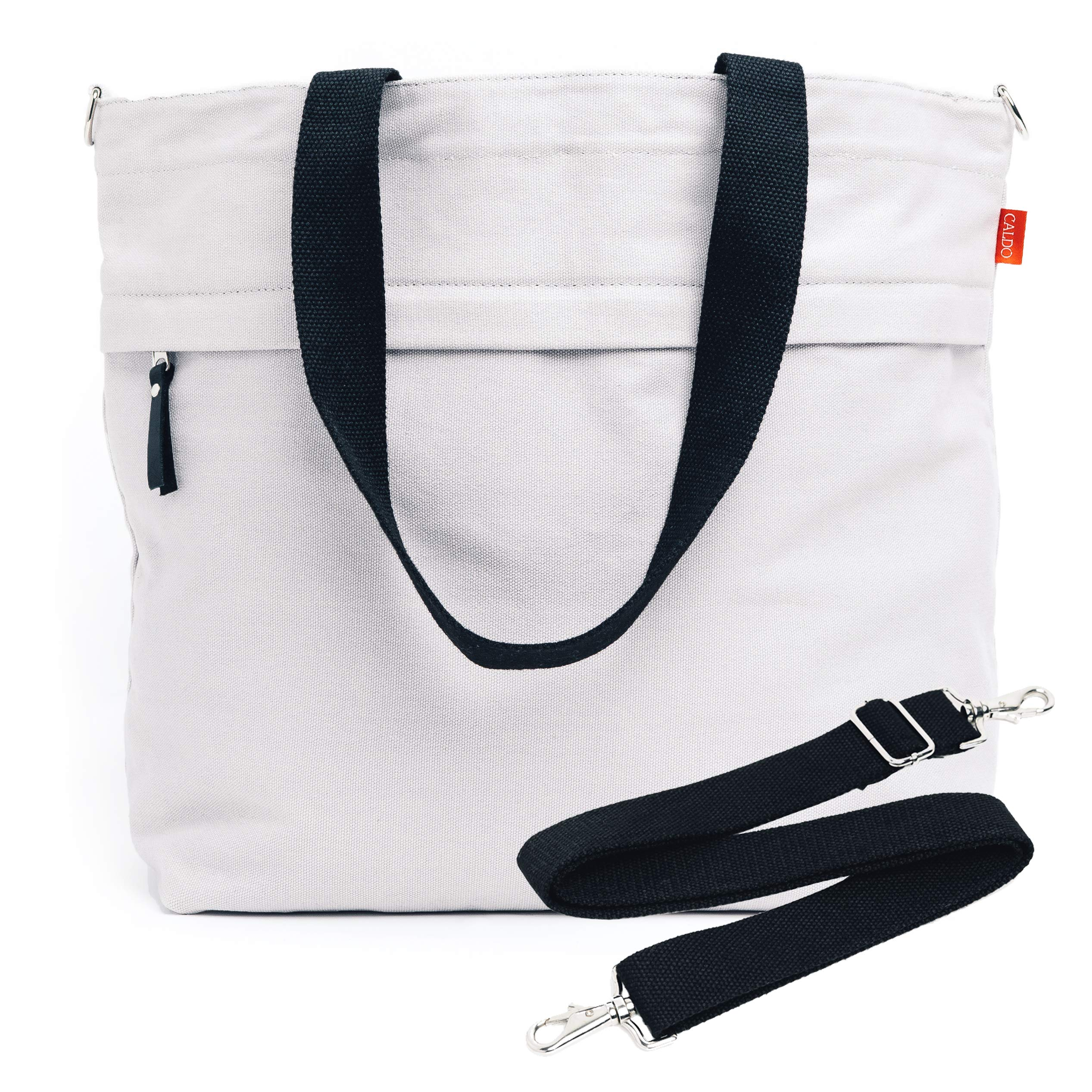 Caldo Canvas Market Tote - Large Travel Bag with Outer Zipper Pocket and Adjustable Shoulder Strap (Previously Abbot Fjord) (Pewter)