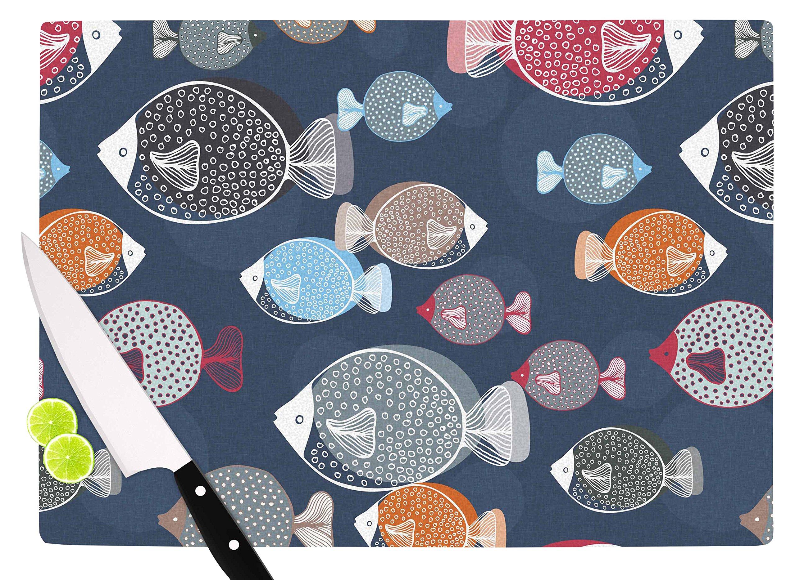 KESS InHouse Melissa Armstrong ''Swim School'' Blue Red Cutting Board, 11.5'' x 15.75'', Multicolor