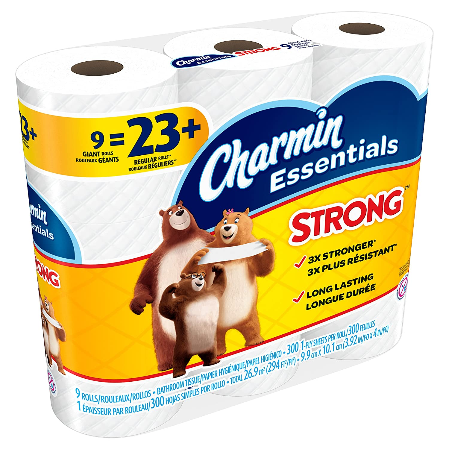 Amazon.com: Charmin Charmin Essentials Strong Toilet Paper 9 Giant Rolls, 1.8 Pound: Health & Personal Care