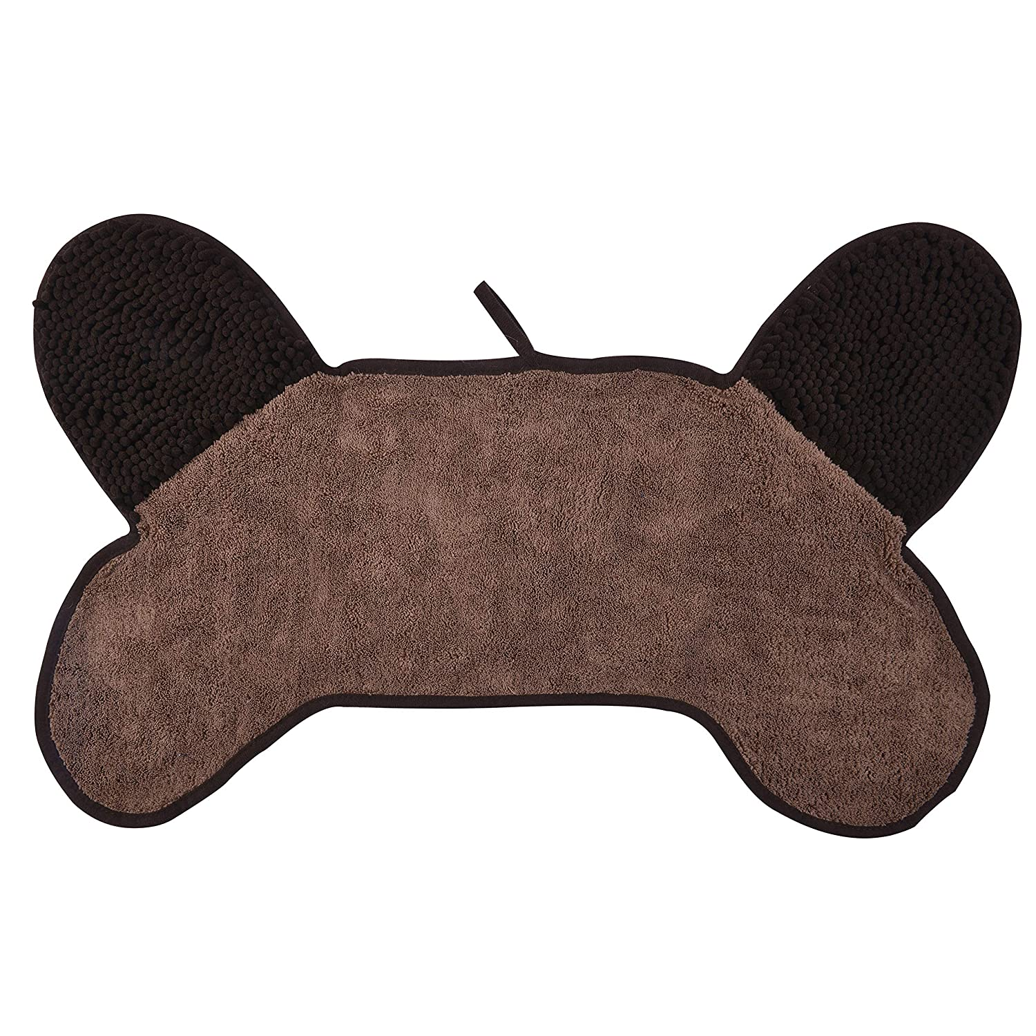 Brown 21 x 31 inch Brown 21 x 31 inch SOFTOWN Bone Shaped Dog Towel with Chenille Hand Pockets Fast Drying Soft Ultra Absorbent Microfiber Pet Bath Towel for Small and Medium Dog Pets 31 x 21 Inch