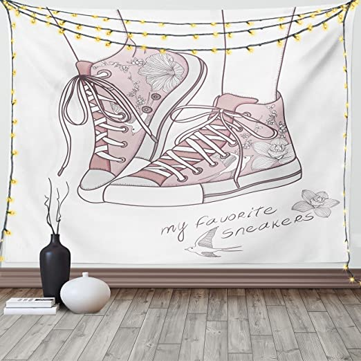 Lunarable Cartoon Tapestry King Size, Shoes with Floral Pattern Teenage Girls Sneakers Flowers Birds Retro Urban, Wall Hanging Bedspread Bed Cover Wall Decor, 104