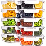 Prep Naturals Glass Meal Prep Containers Glass Food Storage Containers with Lids - 2 Compartment Glass Lunch Containers (10 P