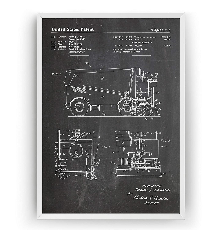 Máquina de Repavimentación de Hielo Poster de Patente Patent Póster Con Diseños Patentes Decoracion de Hogar Inventos Carteles Prints Wall Art Posters Regalos Decor Blueprint - Marco No Incluido
