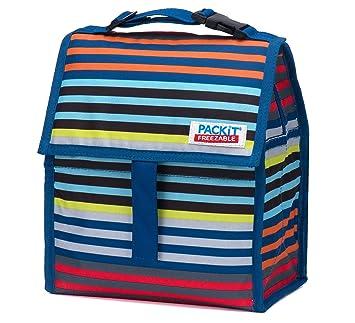 6.4 Liter PACKIT K/ühltasche Einfrierbar Deluxe Lunch Bag 17.8 x 21.6 x 27.9 cm Gray stripe