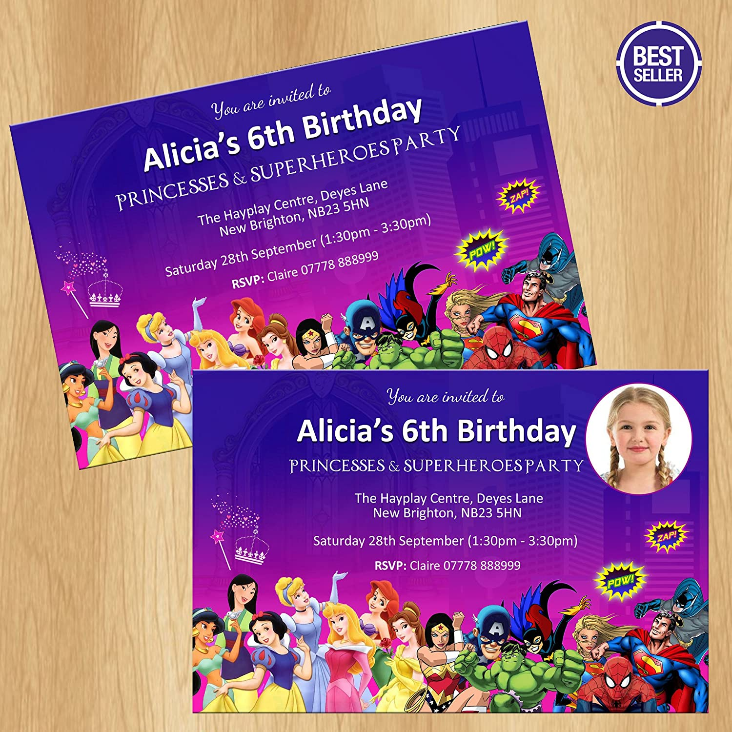 Princess and Superheroes Party Invitations Superhero: Amazon.co.uk ...
