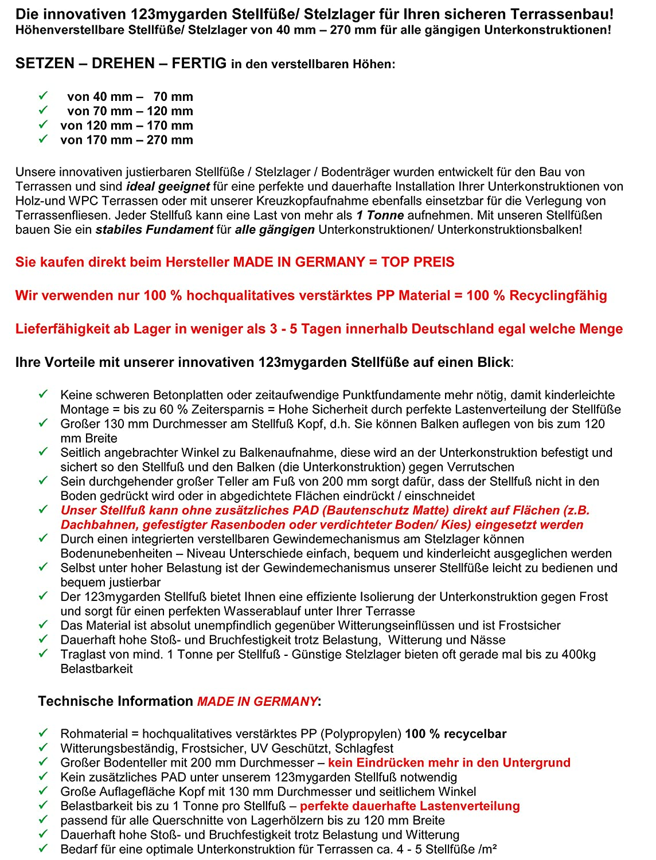 Wpc Hersteller Deutschland support bearing areas patio areas adjustable 170 270 mm base
