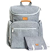 Baby Republic Diaper Bag Backpack - Baby Bag for Mom Girls Boys and Dad - Diaper Bags for Women with Large Insulated Pockets - Changing Pad - Stroller Straps - Gray