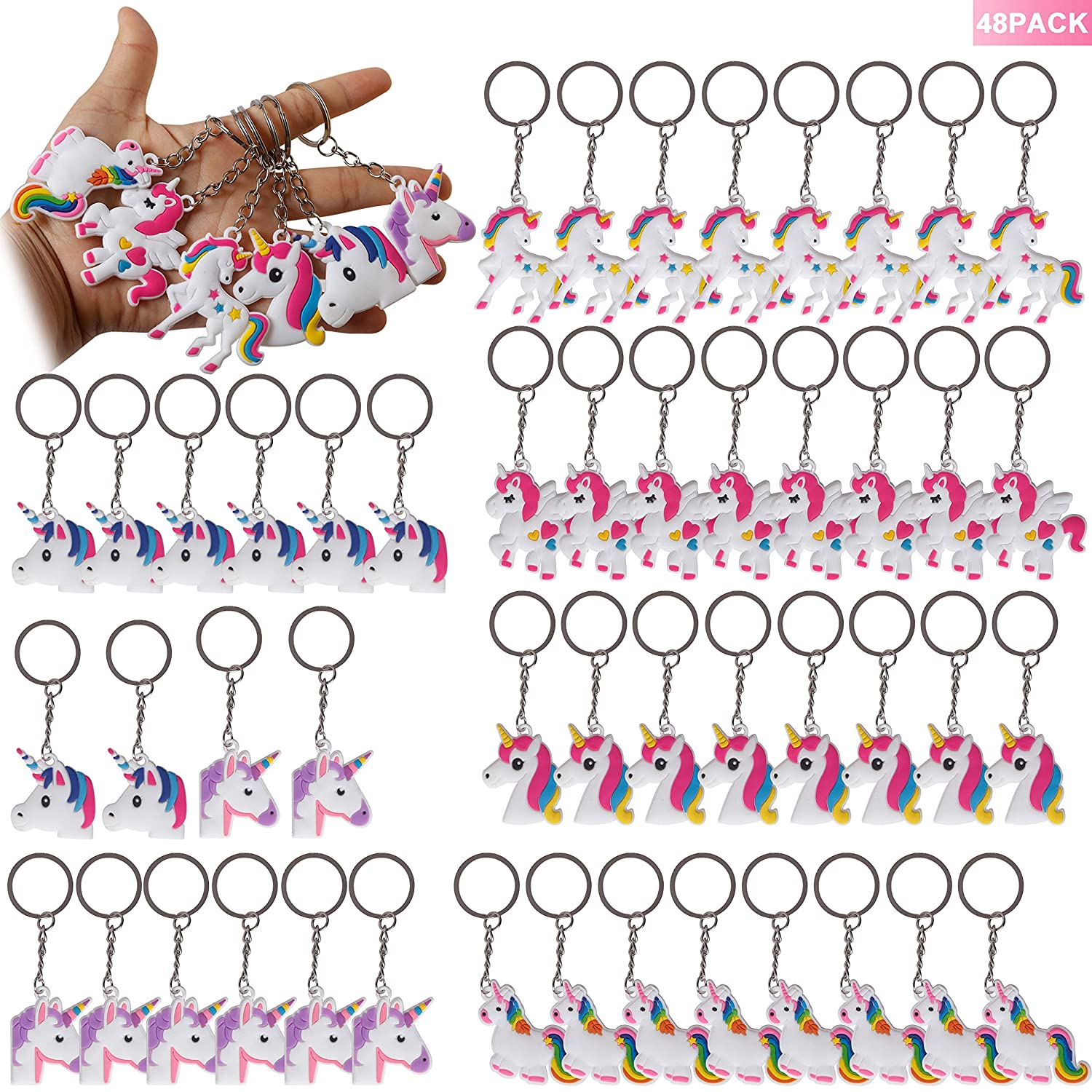 Novel Unicorn Theme Birthday Party Favors Kids Reward prizes for Halloween Party /& Christmas Sock Fillers /& Other Party Supplies Rainbow Unicorn Keychains 30 Pack