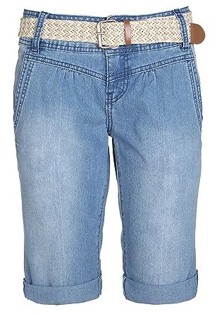 54f061814ffaf0 Sublevel Damen Bermuda-Shorts Jeans mit Flecht-Gürtel
