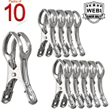 10 Packs, WEBI Heavy Duty Stainless Steel Boca Clips Clothing Peg Clamp Clothespin Picture Hanger for Quilt, Pants, Photos, Towel, Beach Chair, Pool Loungers on Cruise, 4.33 Inches