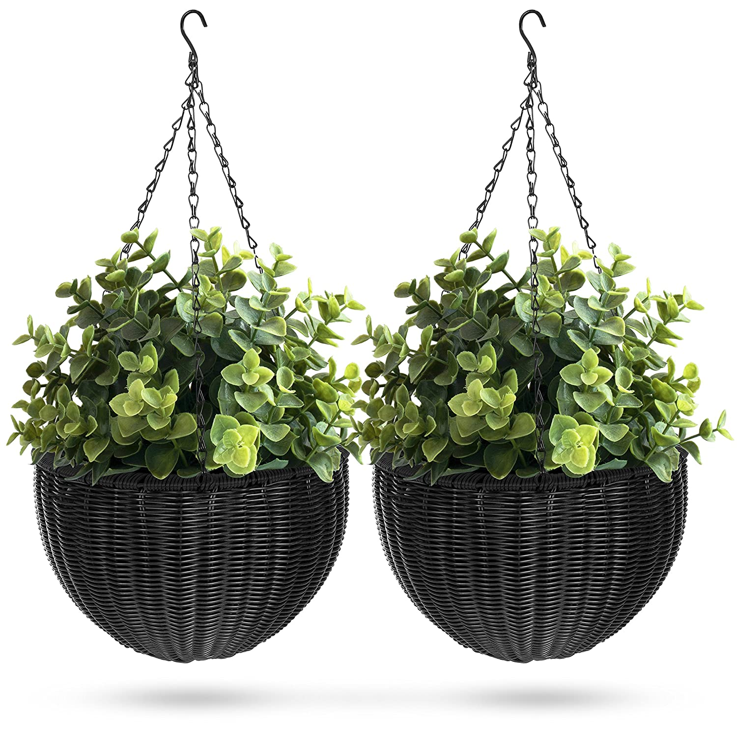 Best Choice Products Set of 2 Patio Round Garden Wicker Rattan Pot Hanging Planters w Triple-Chain Hanger, Black