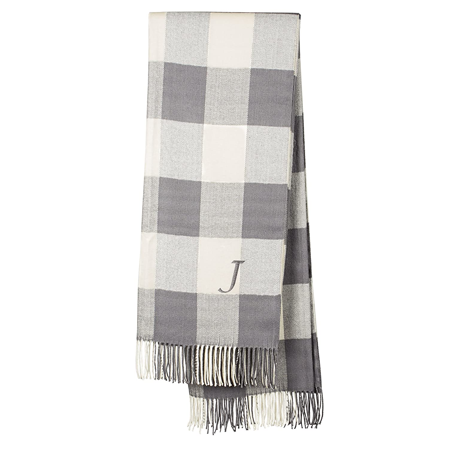 Cathys Concepts Personalized Grey Buffalo Check Throw