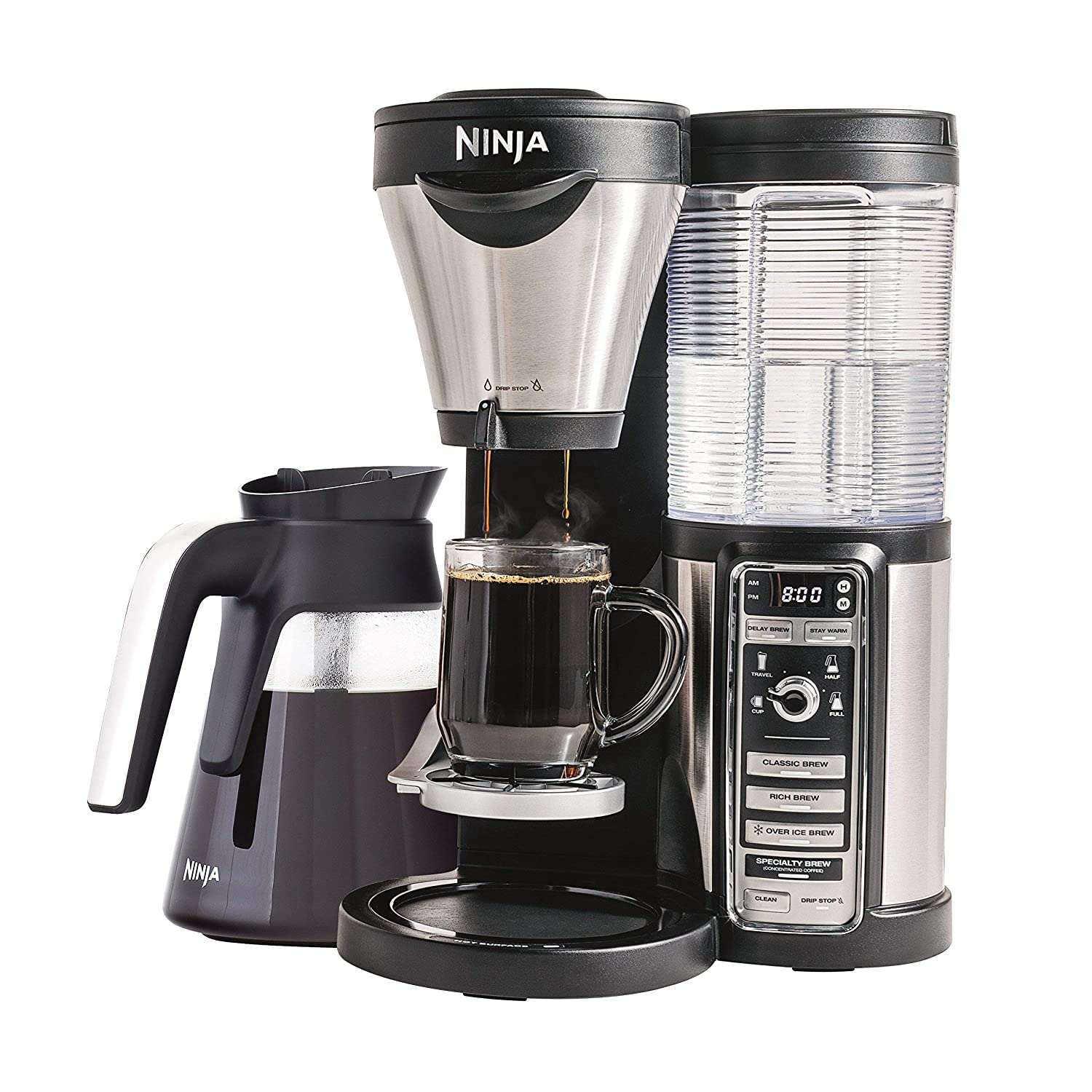 Ninja Coffee Maker for Hot Iced Coffee with 4 Brew Sizes, Programmable Auto-iQ, Milk Frother, 43oz Glass Carafe, Tumbler and 100 Recipes CF082 Renewed