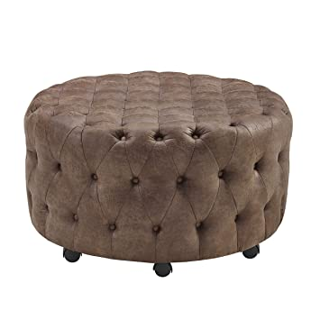 quality design b2aba 2a332 Amazon.com: Linon Hudson Round Rolling Ottoman in Rustic ...