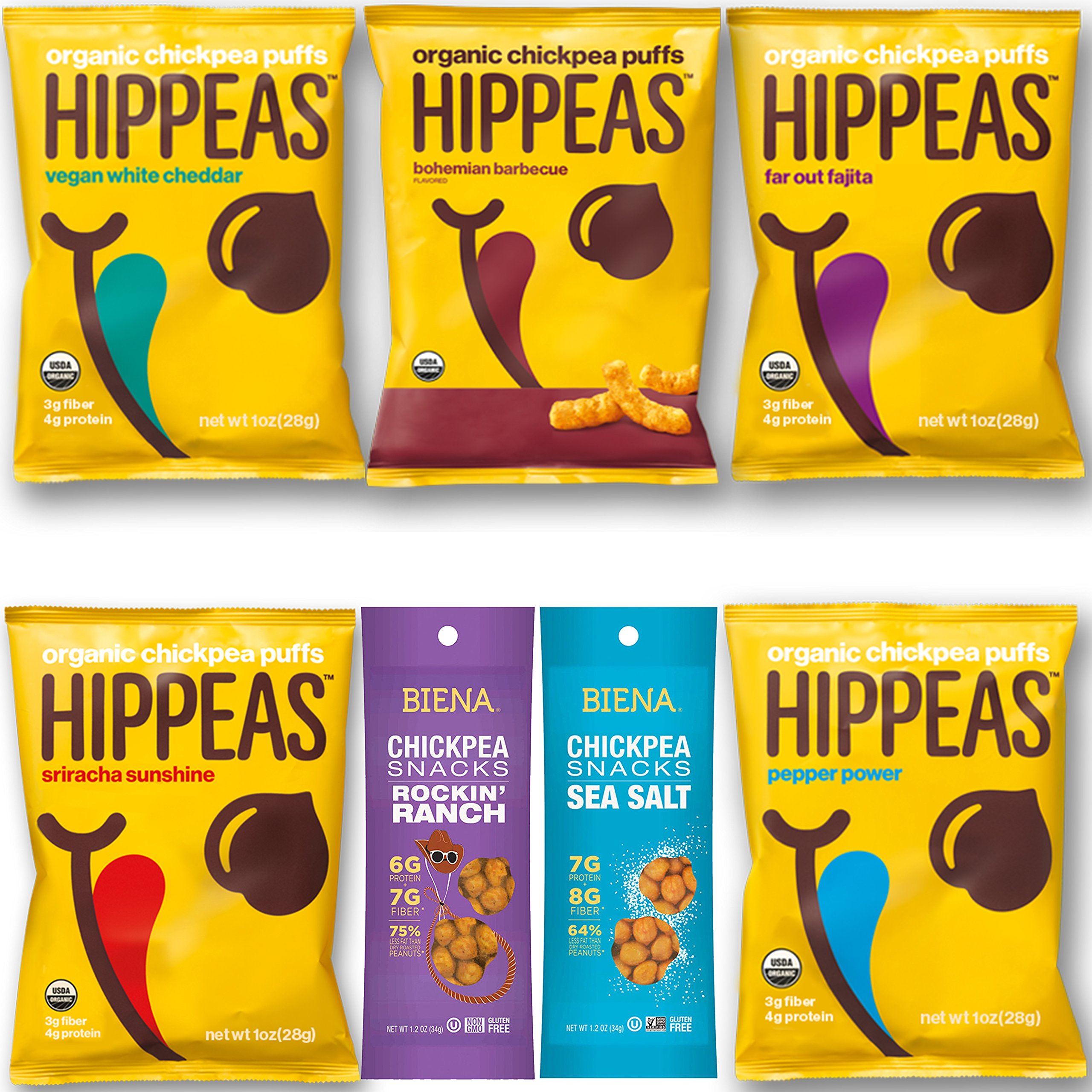 Vegan Happy and Healthy Snacks Variety Pack Sampler, Different Flavor Chickpeas, Include 1 Ounce Hippeas and 1.2 Ounce Biena Chickpea Snacks (14 Count)