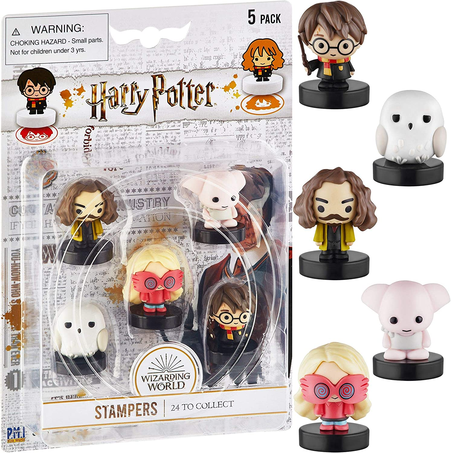Self-Inking Harry Potter Stampers, Set of 5 – Harry Potter Gifts, Collectables, Party Decor, Cake Toppers – Harry Potter, Dobby, Luna Lovegood, Hedwig and More by PMI, 2.5 in. Tall