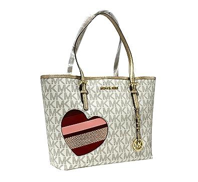 546b2cd13955 Amazon.com  MICHAEL Michael Kors Women s HEARTS Jet Set Travel MEDIUM  Leather Carry All Tote Handbag (Vanilla gold)  Shoes