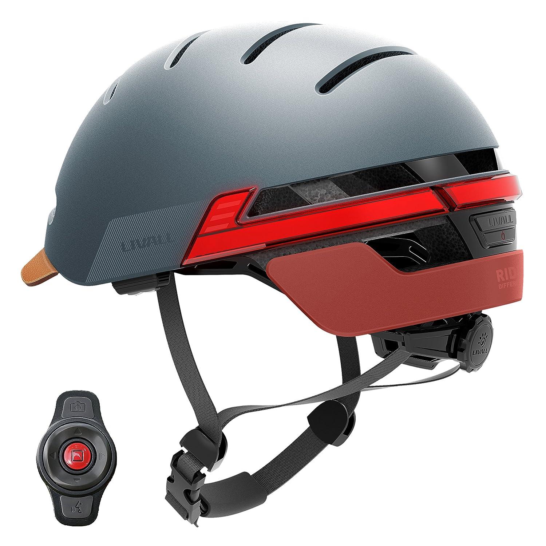 Livall bh51t Fahrradhelm mit Fernbedienung und 270 Grad integrierter LED-Kontrollleuchten, unisex, BH51T, Blau - Misty Blau, Nicht zutreffend