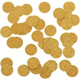 """Ling's moment Gold Confetti Circle Dots Decoration for Wedding Party Table Confetti Christmas Items & Party Props, Gold Glitter Confetti - DIY Kits, 100pcs of 1"""" Circle Dots"""