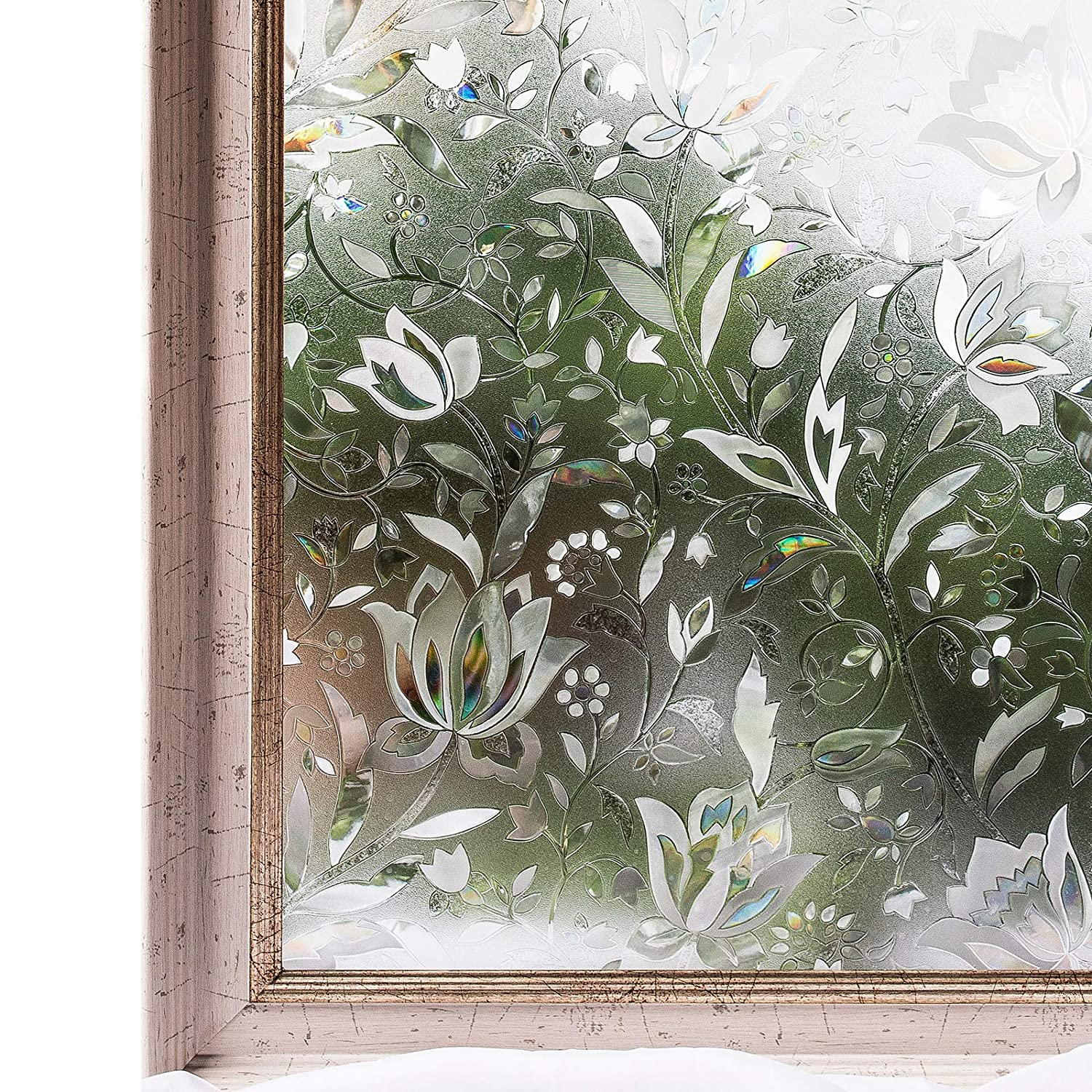 CottonColors Privacy Frosted Window Film, No Glue 3D Static Decorative Non Adhesive Non Toxic Anti UV 11.8In*78.7In(30CM x 200Cm) Glassc Clings SuperRider Co. Ltd