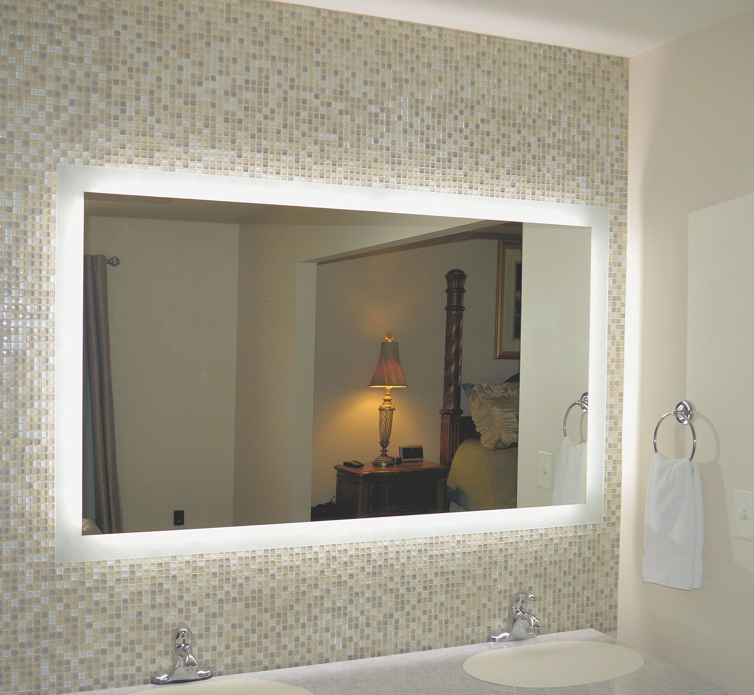 Mirrors and Marble MAM96040 Commercial Grade 60''w x 40''h Side Lighted LED Bath Vanity Mirror