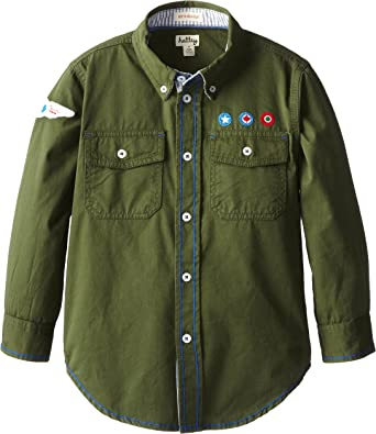 Hatley - Camisa con Cuello con Botones para niño, Color Verde ...