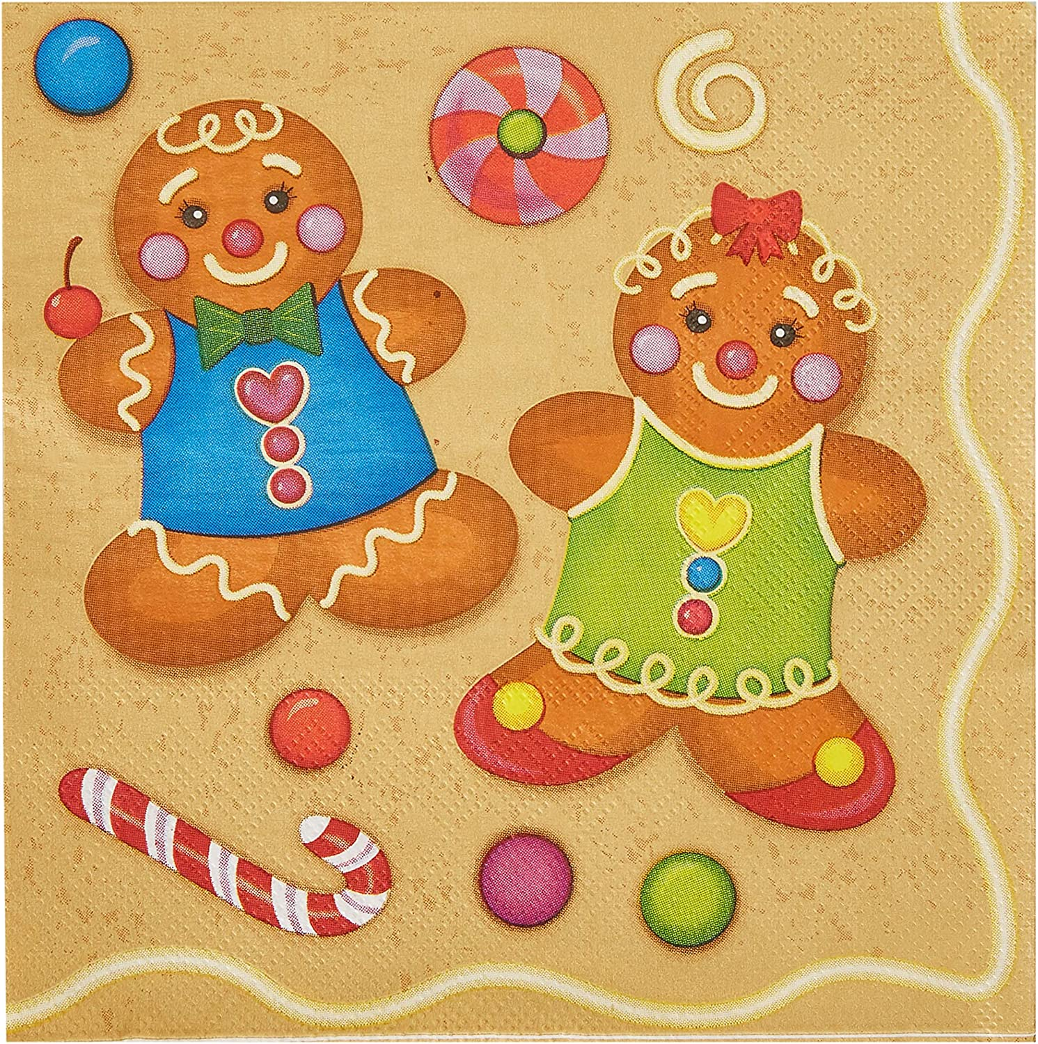 Cocktail Napkins - 100-Pack Disposable Paper Napkins  Christmas Holidays Dinner Party Supplies  2-Ply  Cute Boy and Girl Gingerbread Cookie Design  Unfolded 13 x 13 Inches  Folded 6 5 x 6 5 Inches