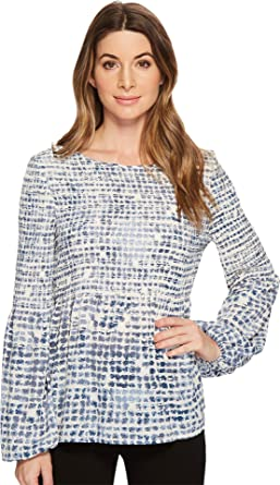 9871687468 Ivanka Trump Women s Printed Georgette Smocking Ballong Long Sleeve Blouse  at Amazon Women s Clothing store