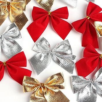 Landisun Christmas Charms Decoration Ornaments Ribbon Bows Bowknots 3 Mixed Colors Pack Of 6 For 72 Pcs