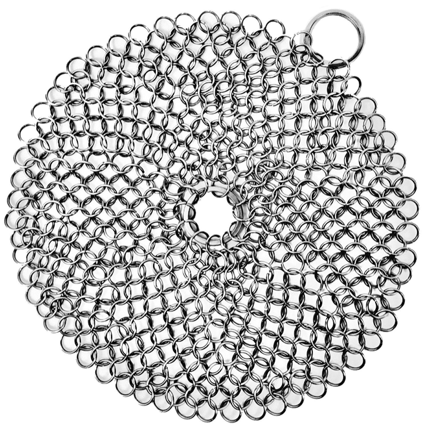 Cast Iron Cleaner, Stainless Steel Chainmail Scrubber - Cookware Cleaner For Skillet, Wok, Pot, Pan, Grill Scraper with Corner Ring | Home & Camping | Protects Cookware Seasoning (Round 7''x7'') by i-Auto Time
