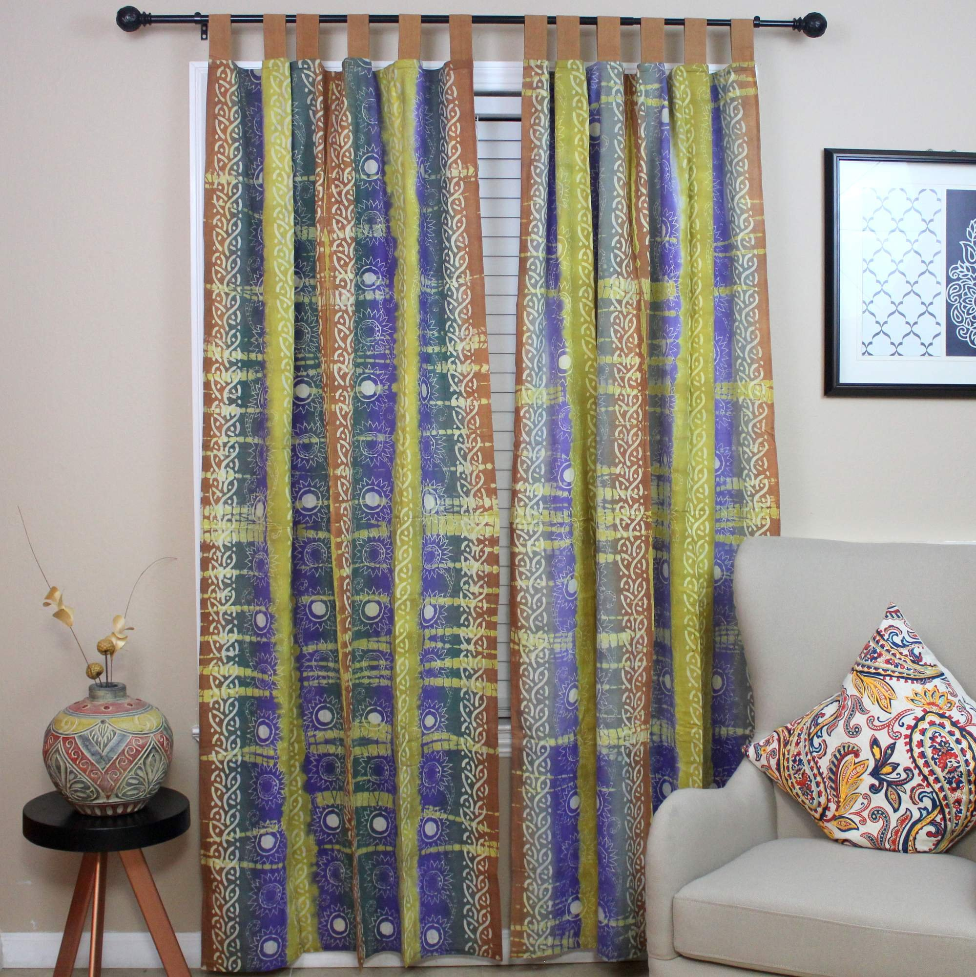 Celtic Batik Tie Dye Tab Top Curtain Panel-44 x 60