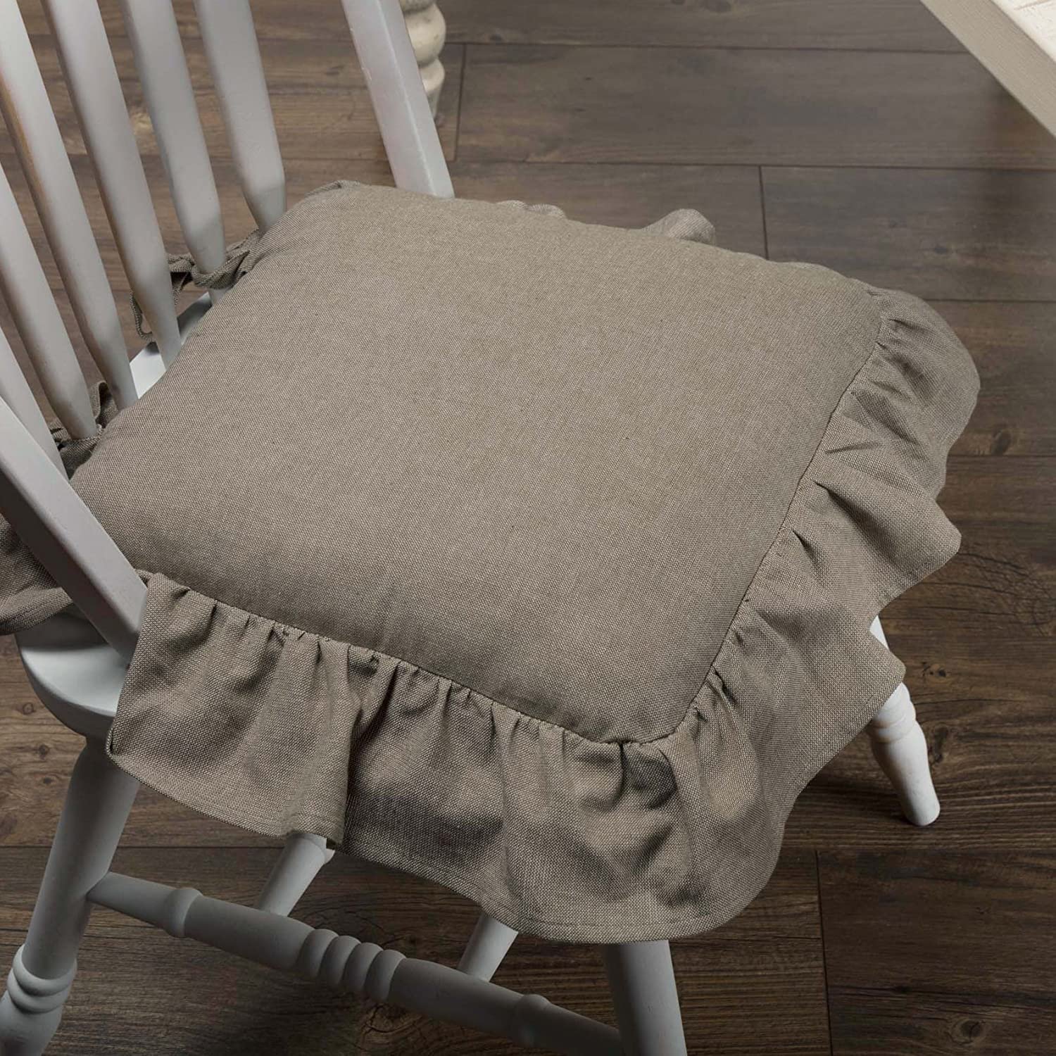 Piper Classics Ruffled Chambray Taupe-Grey Chair Pad, 15x15, Farmhouse Style VHC Brands