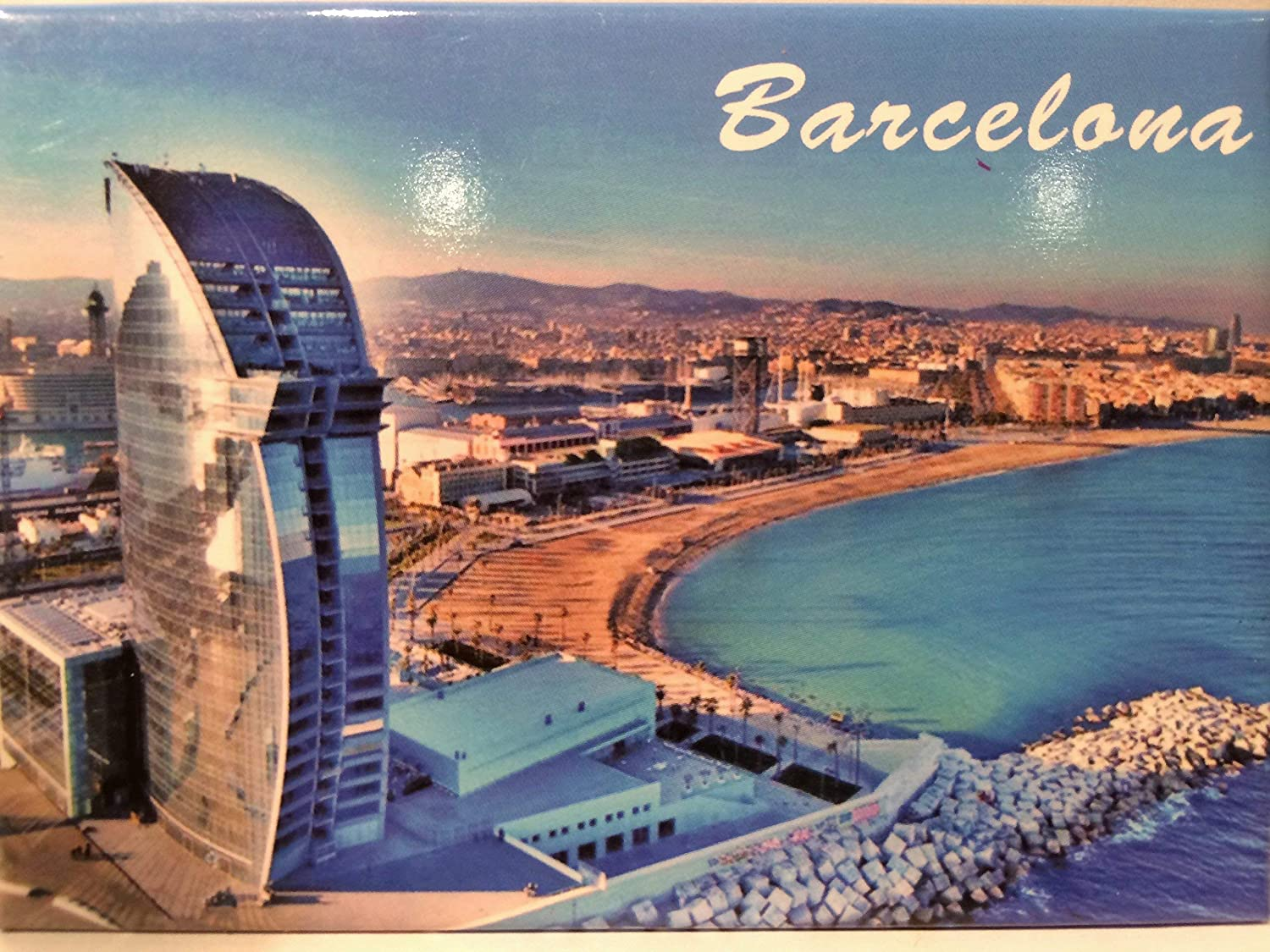 "Barcelona Spain Panorama Fridge Collector's Souvenir Magnet 2.5"" X 3.5"""
