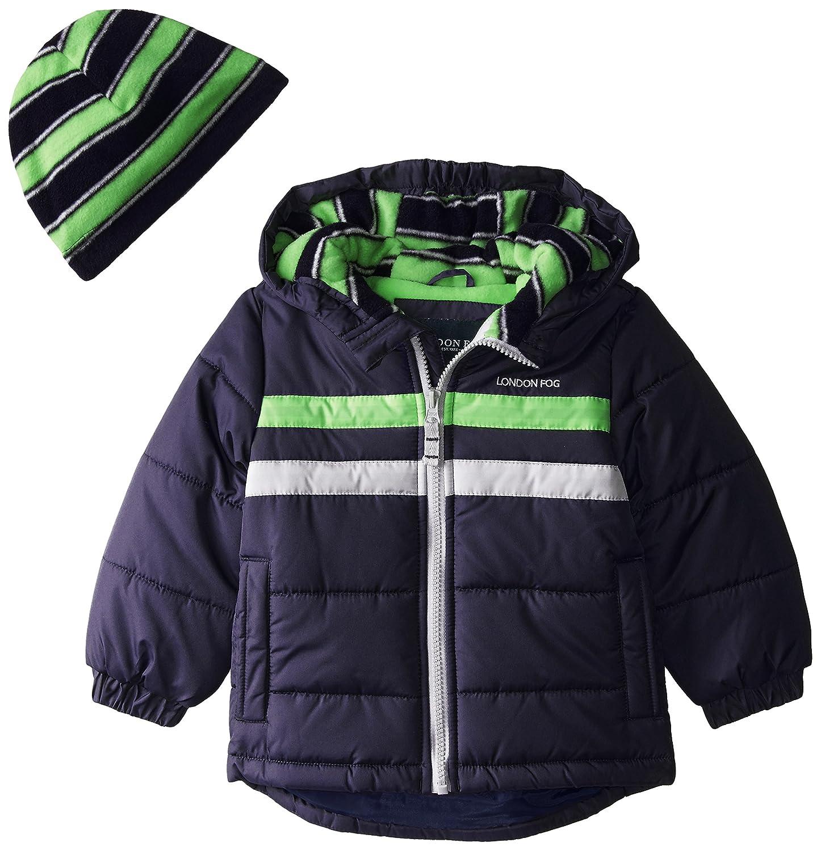 London Fog Baby Boys Heavyweight Puffer Jacket with Beanie