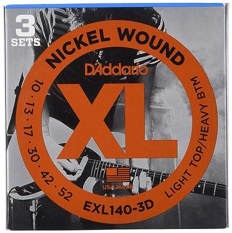 DAddario EXL140-3D - Juego de cuerdas para guitarra eléctrica de acero y