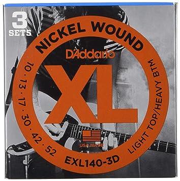 DAddario EPS540 ProSteels Electric Guitar Strings 10-52 Light Top//Heavy Bottom