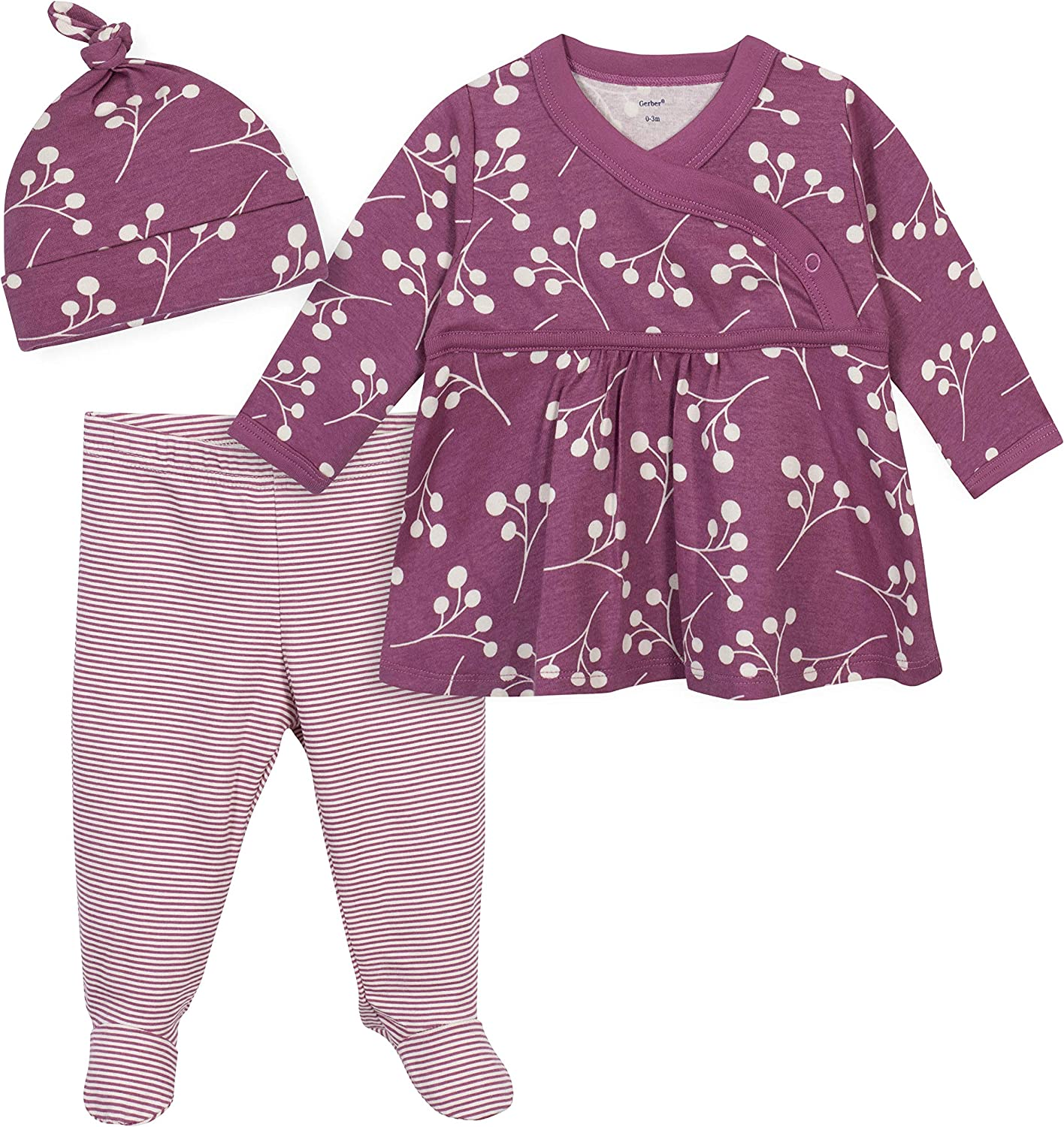 Grow by Gerber Baby Girl's Organic 3-Piece Shirt, Footed Pant, and Cap Set Pants, Pink, 0-3 Months
