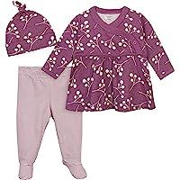 Gerber Grow Baby Girls Organic 3-Piece Shirt, Footed Pant, and Cap Set