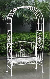 Superior Charles Bentley Garden White Wrought Iron Shabby Chic Garden Outdoor Arch  Archway U0026 2 Seater Bench