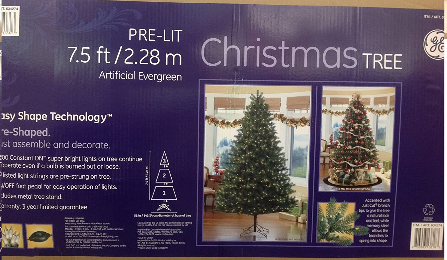 Amazon.com: Christmas Tree Pre Lit 7.5 Ft/2.28m Artifical Evergreen: Home U0026  Kitchen