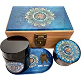 Blue Mandala Stash Box Combo - Grinder Stash Jar and Rolling Tray - Stash Box with Lock Locking Stash Box Stash Boxes (Blue M