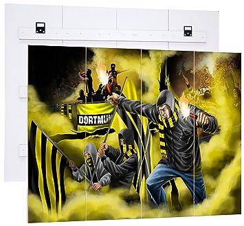 Wanddekoration MDF-Holzbild im Bretterlook Format: 80x60cm MDF-Holzbild im Bretterlook Wanddekoration Fu/ßball Fan-Artikel Ultras Dortmund mit Pyro und gelben Nebel