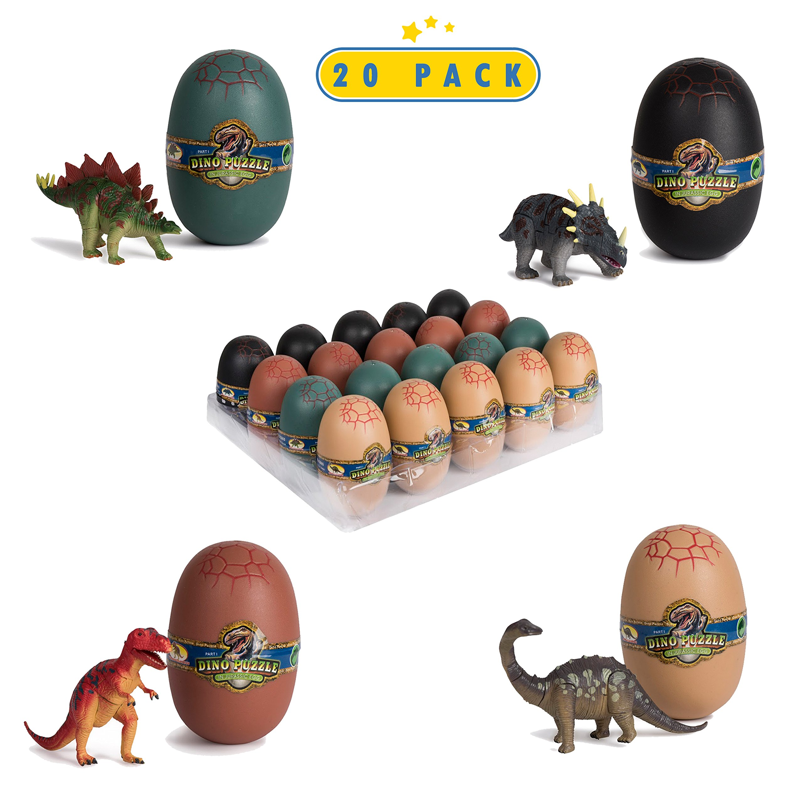 20 3D Dinosaur Puzzles In Dino Eggs - Jurassic Egg With Dinosaur Figures- Dinosaurs Toys For Kids Party Favors And Dinosaur Party, Easter Basket Fillers Easter Eggs Toys For Boys by Toyrifik