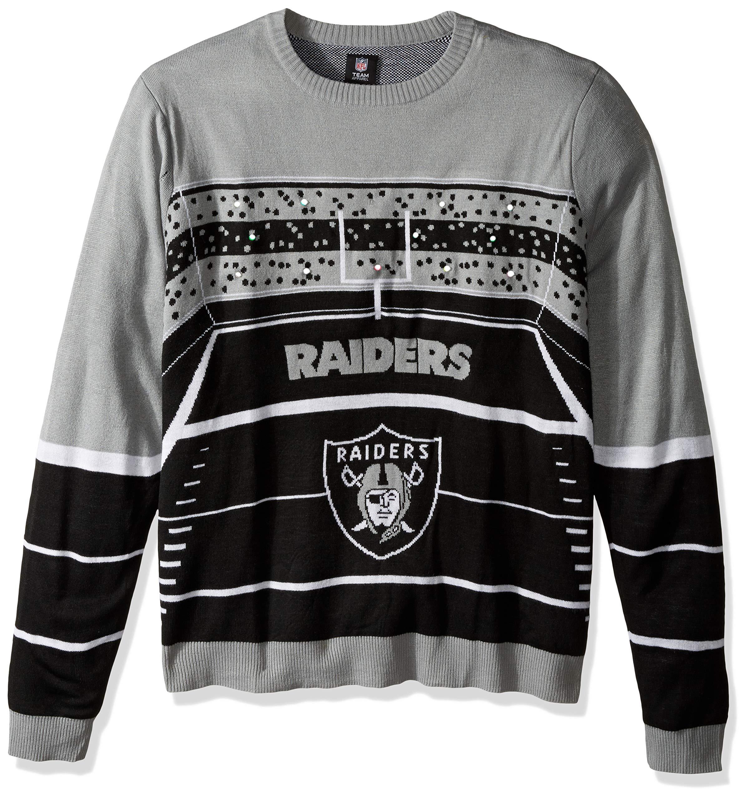 FOCO SWTCNNFSTDLU NFL Oakland Raiders Mens Stadium Light Up Crew Neck Sweaterstadium Light Up Crew Neck Sweater, Team Color, XX-Large
