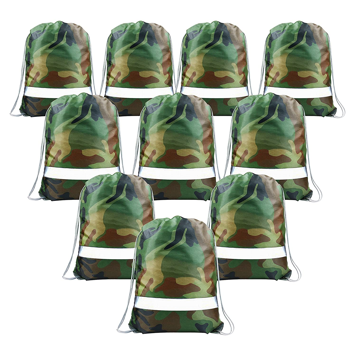 Party Bags Camo Drawstring Bags 10 pcs, Give Away Bags for Birthday Party Favours, Camouflage String Backpacks for Boys Girls Teens, Goodie Bags Large, PE Beach Swim Bags