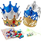 Richness DIY Party Crowns Foam Kids Tiaras Make Your Own Crowns with Jewel Stickers Party Favors for Kids Pack of 6