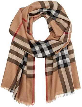 40a756e3b5cdd Burberry Unisex Lightweight Check Wool and Silk Scarf Camel at Amazon  Women s Clothing store  Apparel